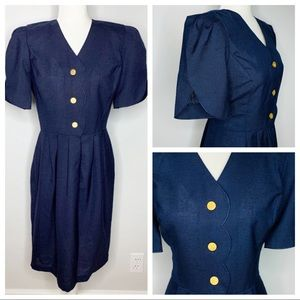 Vintage Leslie Fay Blue Puff Sleeve Button Dress